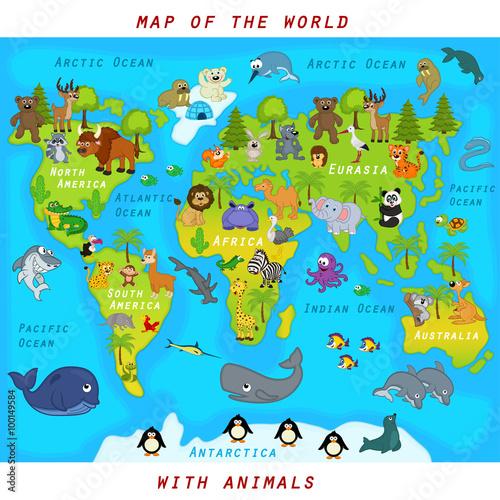 Zdjęcie XXL mapa świata ze zwierzętami - ilustracja wektorowa, eps