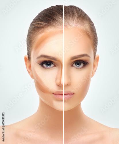 Fototapeta Contouring.Make up woman face. Contour and highlight makeup. obraz na płótnie