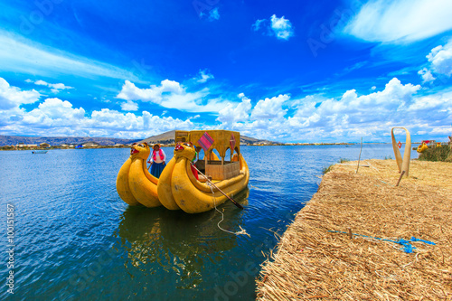 obraz lub plakat Totora boat on the Titicaca lake near Puno, Peru