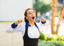 Sleepy Young Business Woman With Wide Open Mouth Yawning