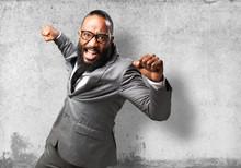 Business Black Man Punching To...