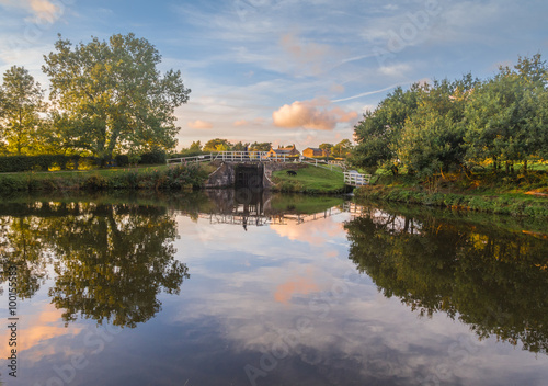 Leeds and Liverpool Canal in Evening Light, Chorley, Lancashire, UK