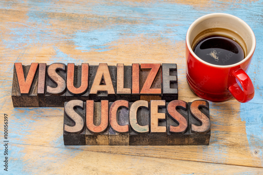 Fototapety, obrazy: visualize success in wood type