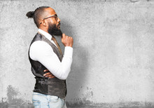 Business Black Man Touching His Beard