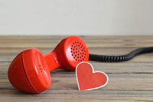 Vintage Red Telephone Handset And Heart Shaped Tag