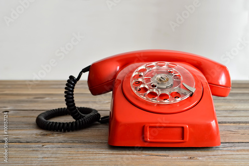 plakat Vintage red telephone