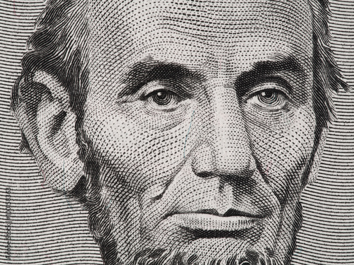 Fotografia  President Abraham Lincoln face on us five dollar bill macro, 5 usd, , united sta