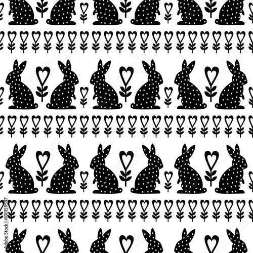 Cotton fabric Easter Pattern with Easter Bunny and flowers on white background. Black and white seamless Spring Holiday Background. Cute Easter Illustration.