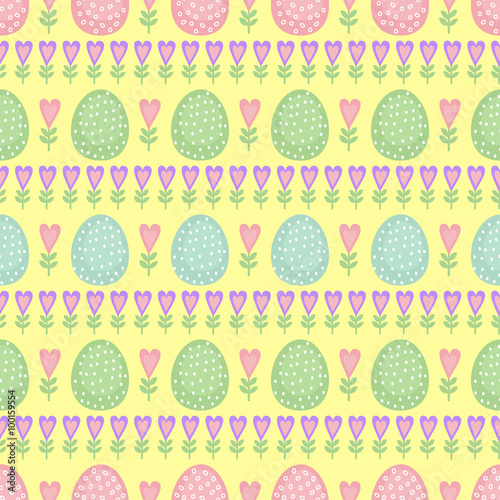 Cotton fabric Seamless Easter pattern, card. Vector background with Easter eggs, spring flowers and hearts. Cute Easter Illustration on yellow background.