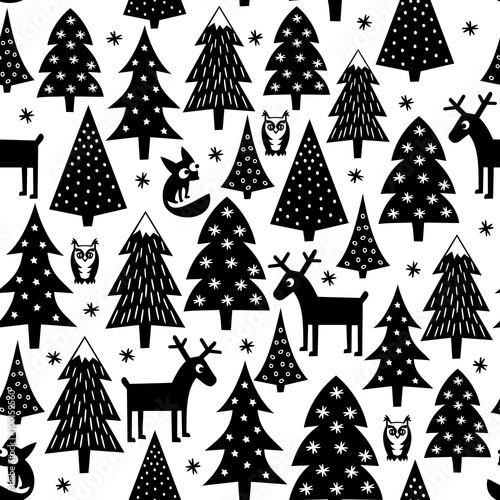 black and white seamless christmas pattern xmas trees housesfoxes owls and