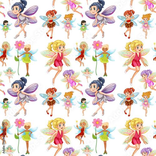 wzor-w-wrozki-ze-skrzydlami-w-kolorowych-sukienkach