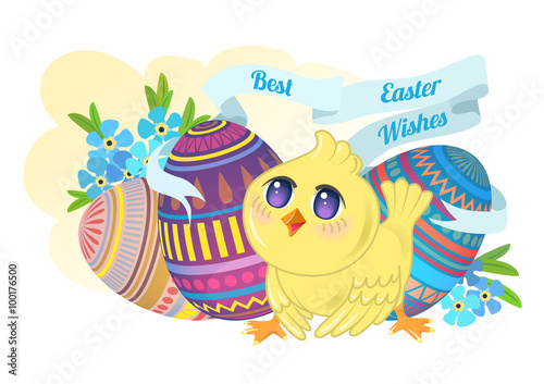 Chicken chibi on the background of Easter eggs and flowers forge Poster