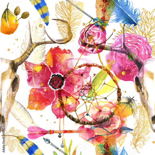 Photo sur Toile Crâne aquarelle seamless pattern in boho style