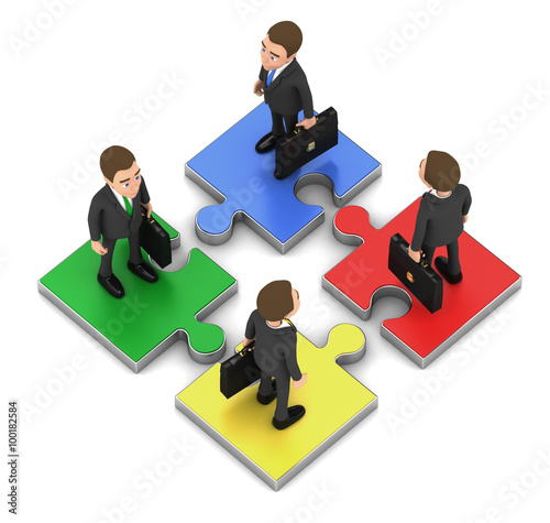 Fotografie, Obraz  Four biznesmenana stand on puzzle