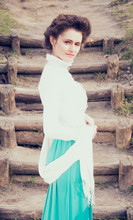 Romantic Caucasian Woman In Vintage Outfit. Retro Style