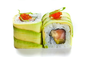 Panel Szklany Sushi Sushi rolls with avocado and salmon isolated on white