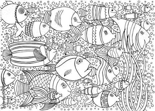 Hand drawn with ink background with many fishes in the water. Sea life design for relax and meditation. Vector illustration can be used for coloring book pages for kids and adults.