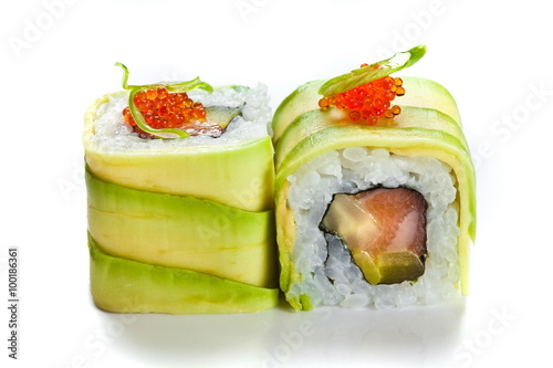 Sushi rolls with avocado and salmon isolated on white - 100186361