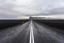 Black Road And Black Sand, Icelandic Landscape