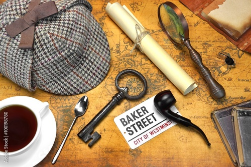 Sherlock Holmes Deerstalker Cap And Other Objects On Old Map Wallpaper Mural
