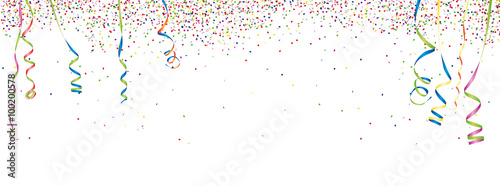 Obraz Konfetti & Luftschlangen Hintergrund - fototapety do salonu