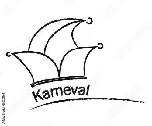 Karneval Narrenkappe Mit Bunten Zipfeln Und Goldenem Schriftzug