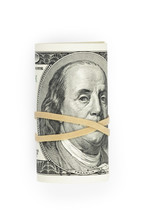 Bunch Of Hundred Dollar Bills Tied With Rubber Band