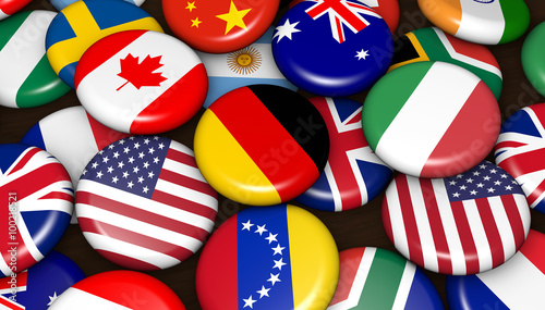 Fotografía  International World Flags On Badges