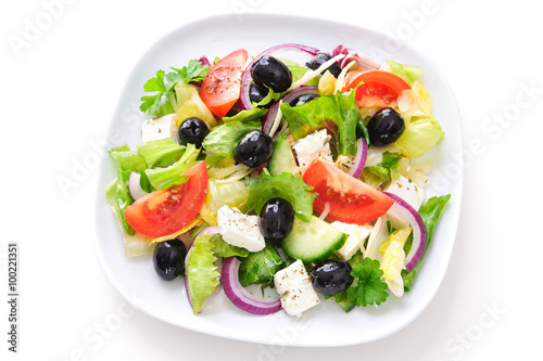 Fotografie, Obraz  Greek salad isolated on white
