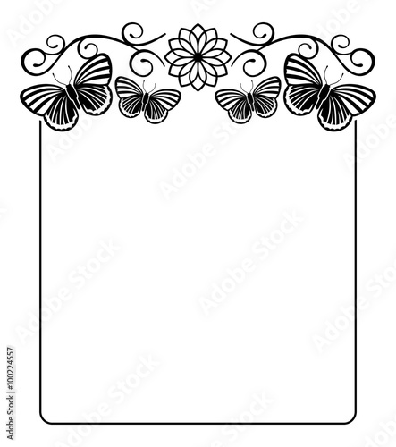 Black and white silhouette frame with butterflies - Buy this stock ...