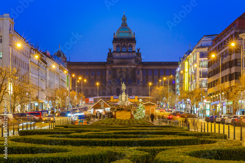The upper part of Wenceslas Square at night, New Town of Prague, Czech Republic Poster