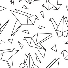 Naklejka Seamless pattern with origami birds. Can be used for desktop wallpaper or frame for a wall hanging or poster,for pattern fills, surface textures, web page backgrounds, textile and more.