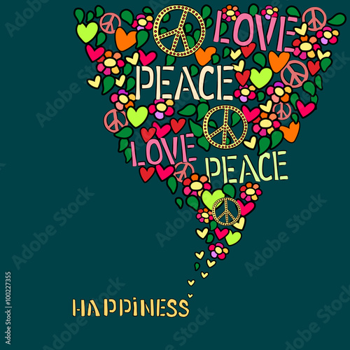 Text Happiness Love Peace And Pacifism Symbol In Colorfull Collage