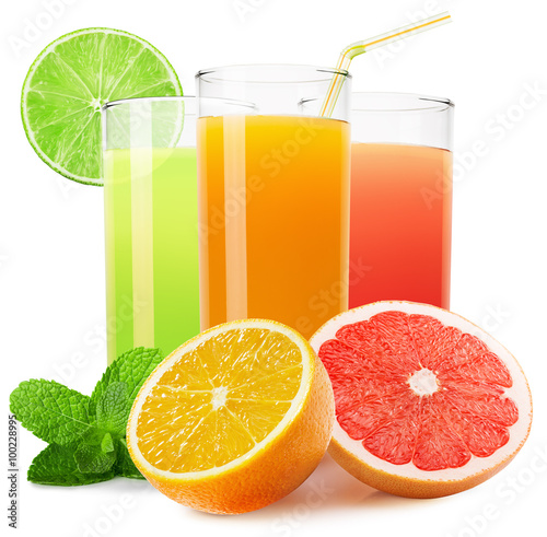 Poster Sap mix of fruit juices isolated on the white background