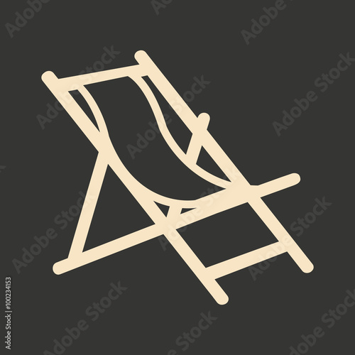 Canvas Print Flat in black and white mobile application deckchair