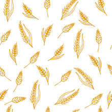 Hand Drawn Seamless Pattern With Ears Of Wheat