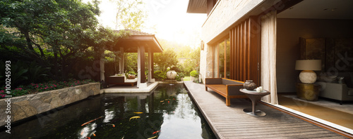 Photo design and furniture in rest place with pond