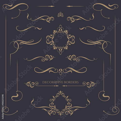 Fototapeta Decorative monograms and calligraphic borders. Template signage, labels, stickers, cards. Graphic design page. obraz