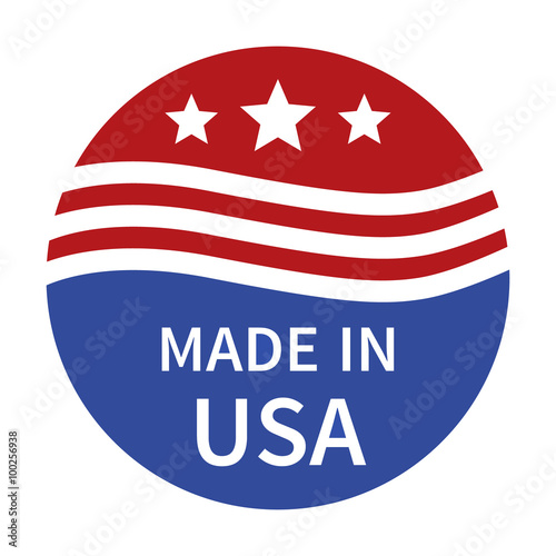 Made in the USA badge, label, seal, sign flat color icon for goods and products Poster