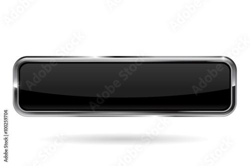 Fotografía  Web button.  Black shiny glass  button with metal frame.