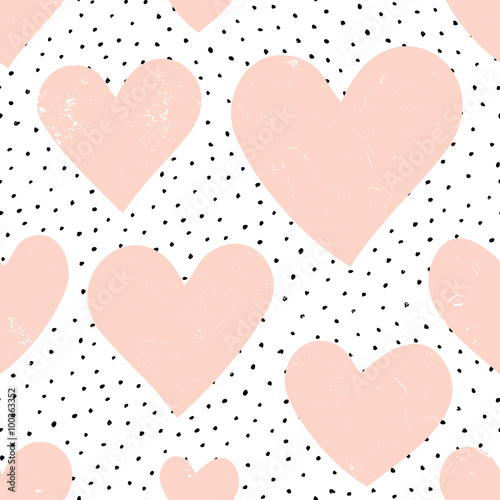 Foto op Plexiglas Geometrisch Hearts and Dots Pattern