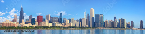 Chicago skyline panorama with Lake Michigan, IL, United States