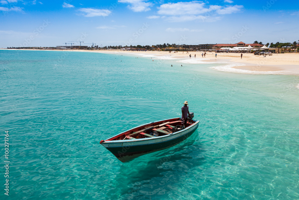 Fototapety, obrazy: Traditional fisher boat in Santa Maria  in Sal Island in Cape Ve