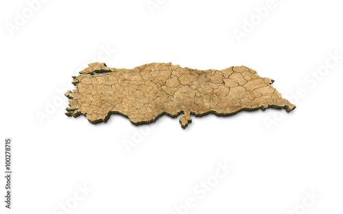 Fotografie, Tablou  3D Turkey Map Dry Earth