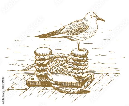 Fotografía  Seagull sitting on a bollard drawn by hand