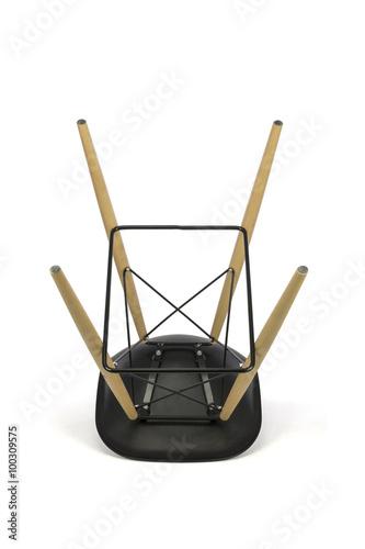 Fine Black Plastic Bar Stool With Wooden Legs On White Background Short Links Chair Design For Home Short Linksinfo
