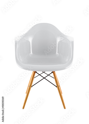 Sensational White Shiny Plastic Chair With Wooden Legs On White Ibusinesslaw Wood Chair Design Ideas Ibusinesslaworg