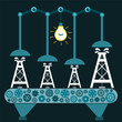 The machine produces Oil rig in a dark room with a light bulb. I