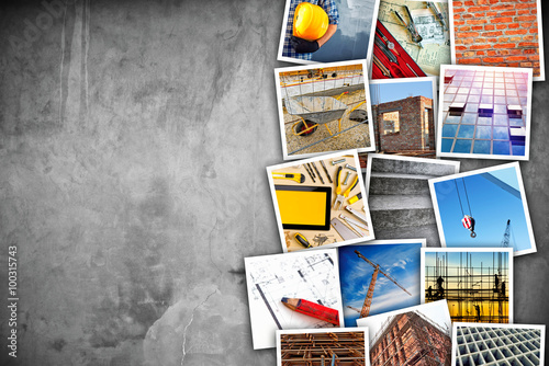 Fotografie, Obraz  Construction industry themed photo collage