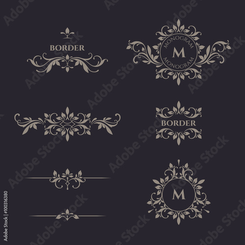 Fotografia, Obraz  Classical elements. Decorative vector monogram and border.